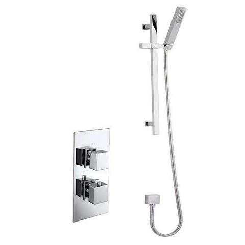 Charlton Square Twin Thermostatic Shower And Slide Rail Kit Mixers