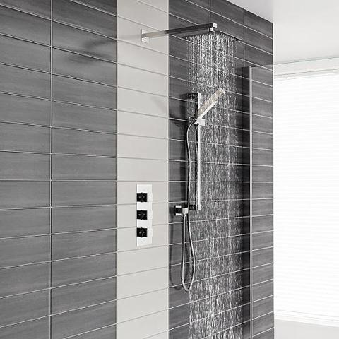 Charlton Triple Valve Thermostatic Square Fixed Head Shower And Slide Rail Kit Mixers