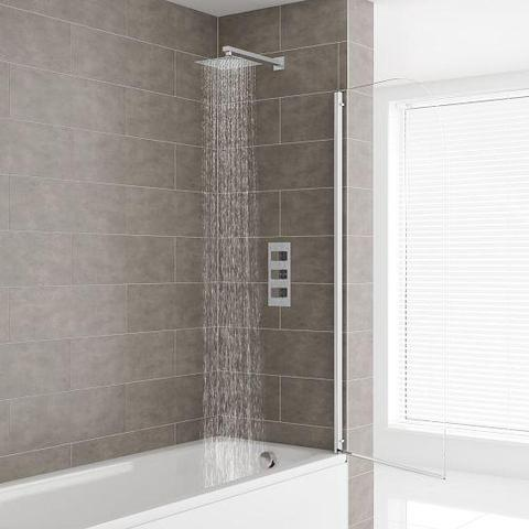 Charlton Triple Valve Thermostatic Shower With Square Fixed Head And Overflow Mixers
