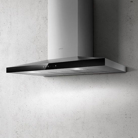 Elica Claire 60/90Cm Black Glass And Stainless Steel Chimney Hood Designer Cooker Hoods