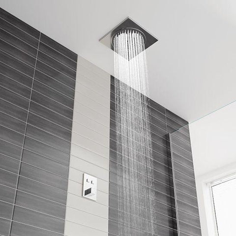 Flynn Flush Ceiling Mounted Shower With Push Button Dual Valve Mixers