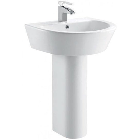 Arco 610Mm Basin With One Tap Hole And Full Pedestal