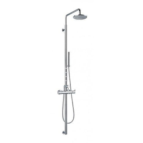 Levo Thermostatic Exposed Shower Column With Hand-Shower Set Body Jets And Overhead Mixers