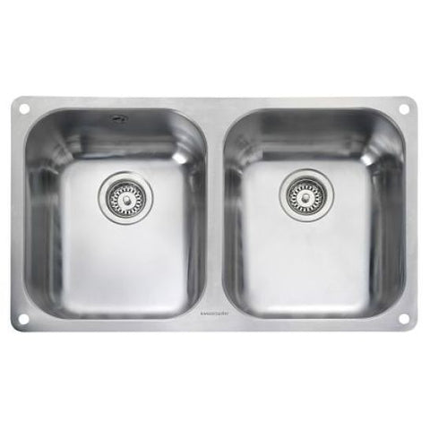 Rangemaster Atlantic Classic Ub3535 Twin Medium Bowl Sink And Waste Undermounted Sinks