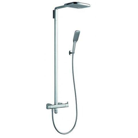 Urban Thermostatic Shower Column With Hand-Shower Set And Two Function Overhead