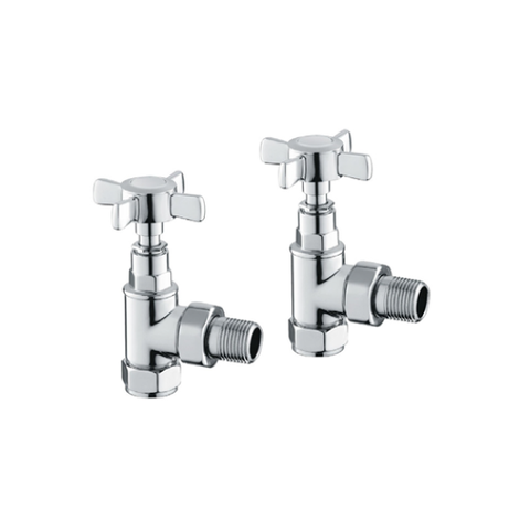 Bronte Angled Chrome 15Mm Radiator Valves & Heating Elements