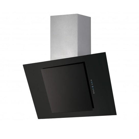 Unbranded Stainless Steel And Black Glass Angled Hood Chimney Cooker Hoods