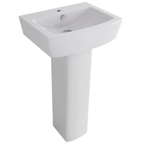 Bloque 550Mm Basin With One Tap Hole And Full Pedestal