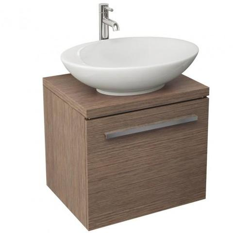 Bloque 470Mm Single Drawer Wall Mounted Unit And Worktop In Soft Oak Hung Vanity