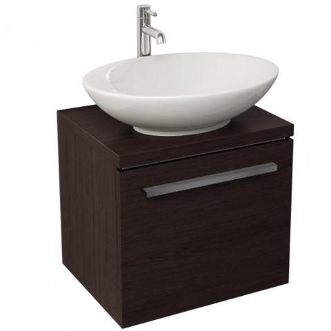 Bloque 470Mm Single Drawer Wall Mounted Unit And Worktop In Wenge Hung Vanity