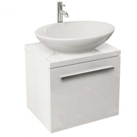 Bloque 470Mm Single Drawer Wall Mounted Unit And Worktop In White Gloss Hung Vanity
