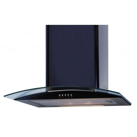 Unbranded Black Curved Glass Chimney Hood Cooker Hoods