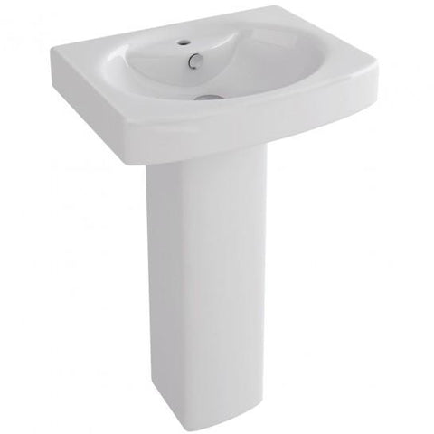 Dekka 550Mm Basin With One Tap Hole And Full Pedestal