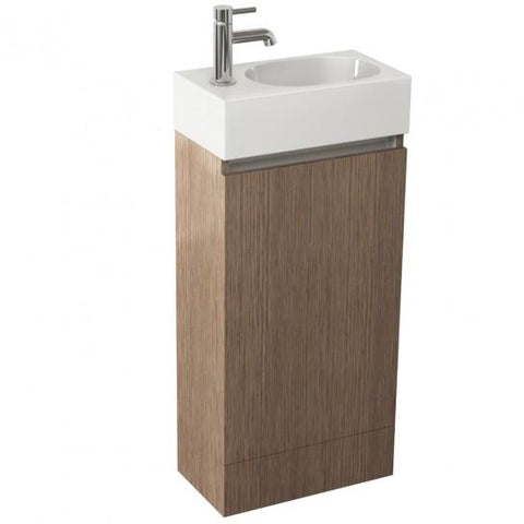 Echo 400Mm Single Door Floor Standing Unit In Soft Oak And Basin With One Tap Hole Freestanding
