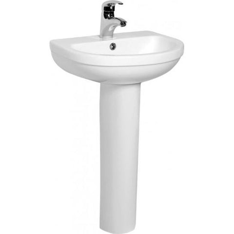 Ice Compact 500Mm Basin With One Or Two Tap Holes And Full Pedestal