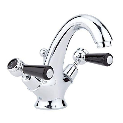 Hudson Reed Topaz Black Lever With Dome Collar Mono Basin Mixer Lp1