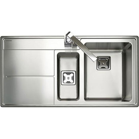 Rangemaster Arlington Inset 1.5 Bowl And Drainer Sink - Stainless Steel Overmounted Sinks