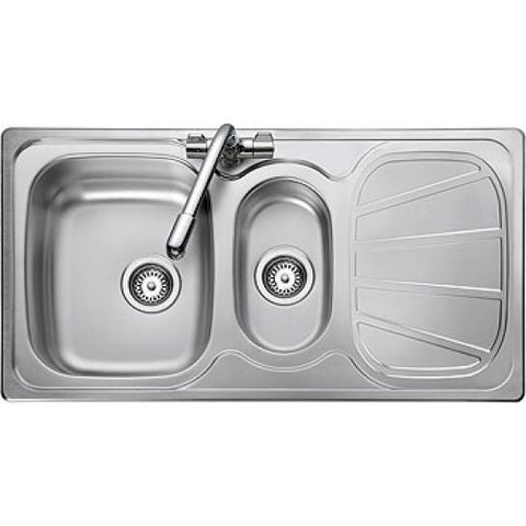 Rangemaster Baltimore Inset 1.5 Bowl & Drainer Sink - Stainless Steel Overmounted Sinks