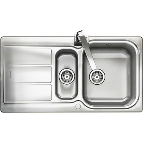 Rangemaster Glendale Inset 1.5 Bowl & Drainer Sink - Stainless Steel Overmounted Sinks