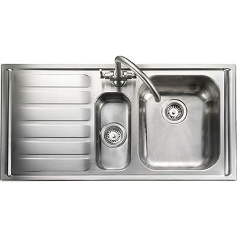 Rangemaster Manhattan Inset 1.5 Bowl And Drainer Sink - Stainless Steel Overmounted Sinks