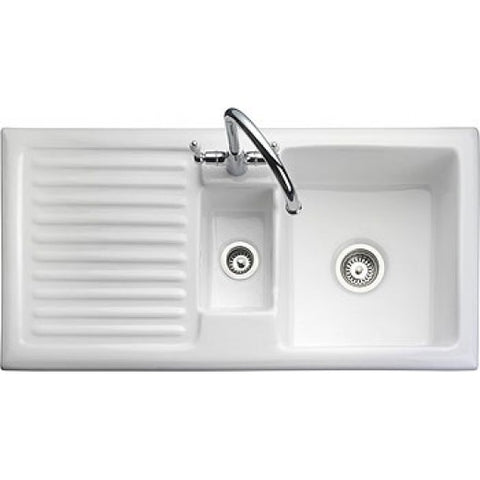 Rangemaster Rustic Ceramic 1.5 Bowl & Drainer Sink - White Overmounted Sinks