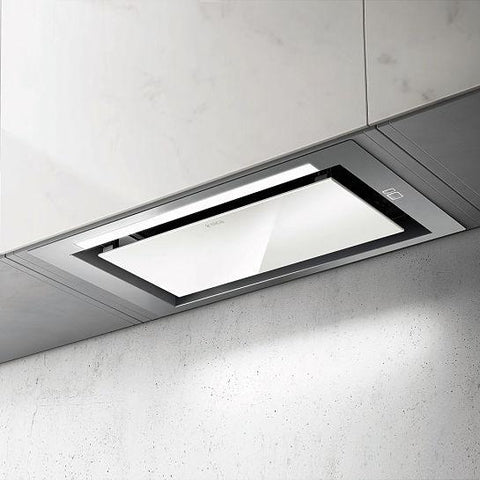 Elica Sleek Ht Stainless Steel And White Glass Built-In Hood Integrated Cooker Hoods