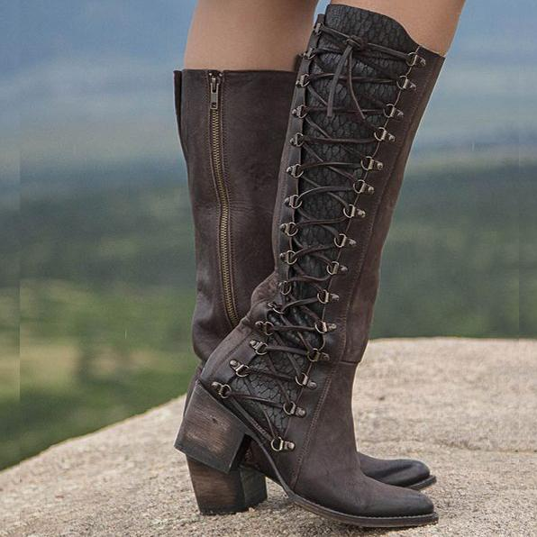 5d1de95cb78 Women Vintage Lace Up Boots European Style Size Zipper And Lace Above Knee  Boots