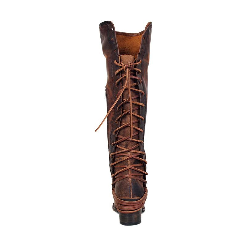 66176127b42 Women Vintage Lace Up Boots European Style Bandage Above Knee Boots ...