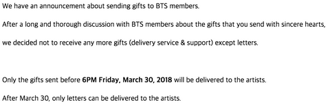 important things when you send letter to BTS