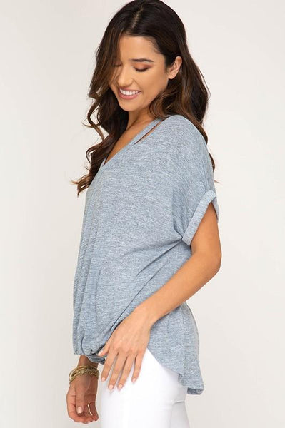 Misty Blue Short Sleeve Surpliced Knit Top