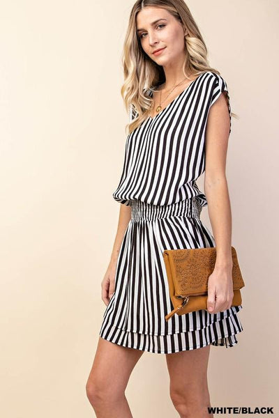 Black/White Waist Smocking Stripe Dress