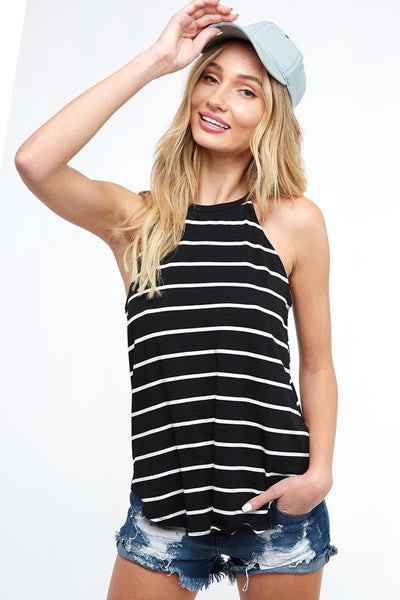 Black/White Striped Halter Tank Top