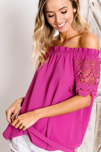 BERRY CROCHET LACE SLEEVE ACCENT OFF-SHOULDER TOP