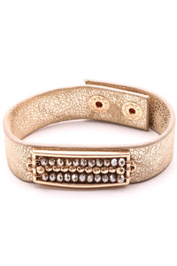 Gold Leather Bracelet