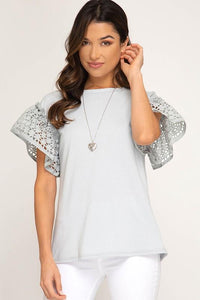 Blue Grey Ruffled Short Sleeve Knit Top