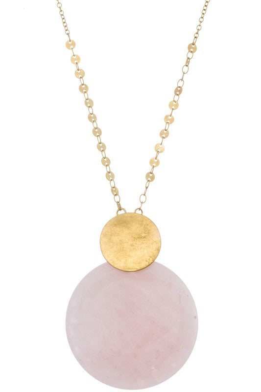 Worn Gold Necklace With Pink Natural Stone Pendant