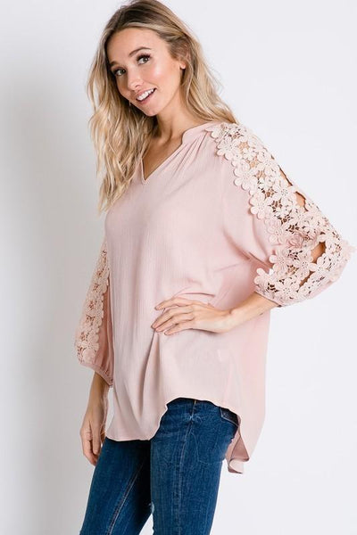 Baby Pink Floral Lace Detailed Sleeve Solid Top