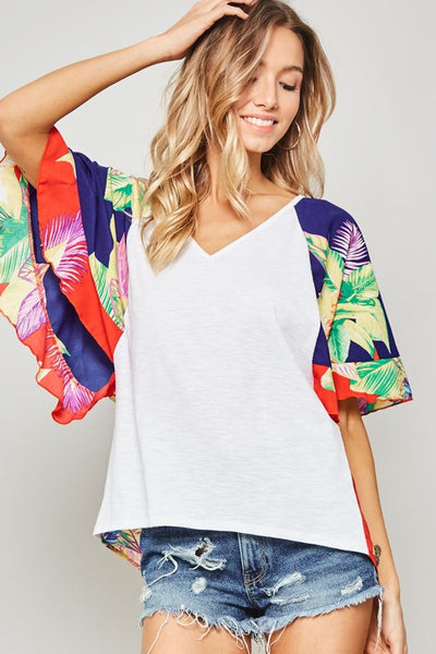 Tropical Floral Colorblock Flutter Sleeve Top