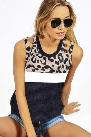 CHARCOAL LEOPARD PRINT TOP WITH SHOULDER CUT OUT