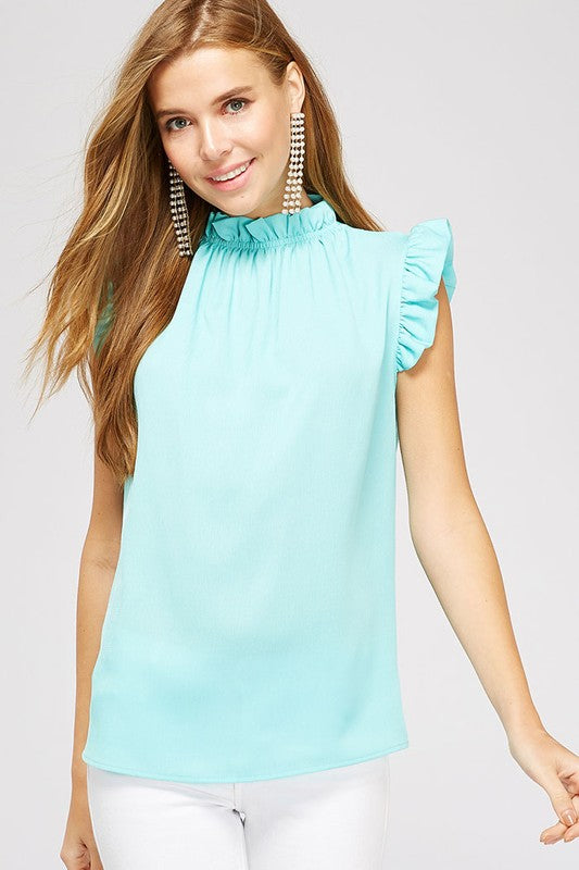 Aqua Ruffle Detail Sleeveless Blouse