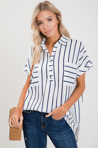 Navy Stripe Dolman Sleeve Top