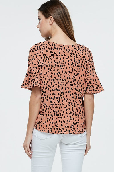 Light Rust Animal Print Self Tie Top