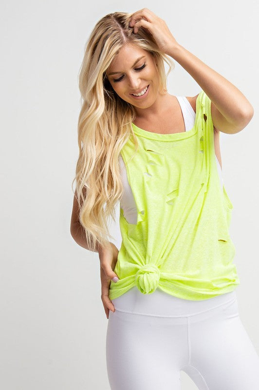 Neon Yellow Distressed Knit Top