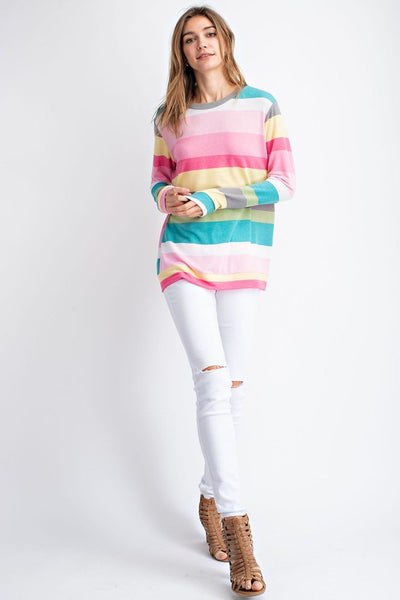 Pink/Teal Multi Color Stripe Long Sleeve Top