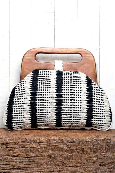 Black/Vanilla Cable Striped Wooden Handle Clutch With Toggle