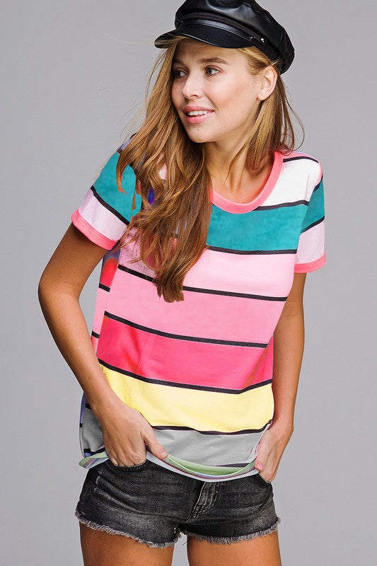 Vivid Multi Color Stripe Print Top