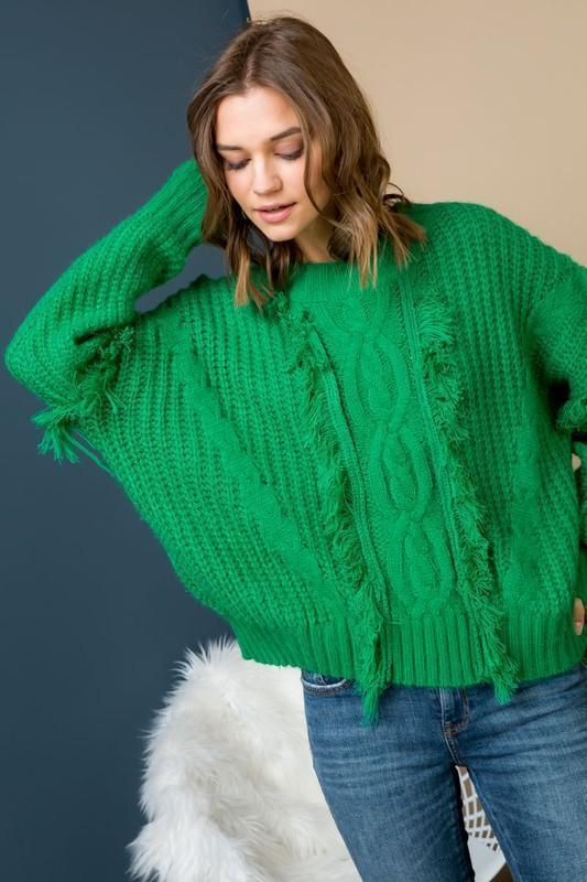 Green Cable Knit Sweater With Fringe