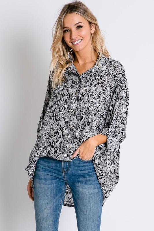 Grey Wild Snake Python Print Button Down Blouse