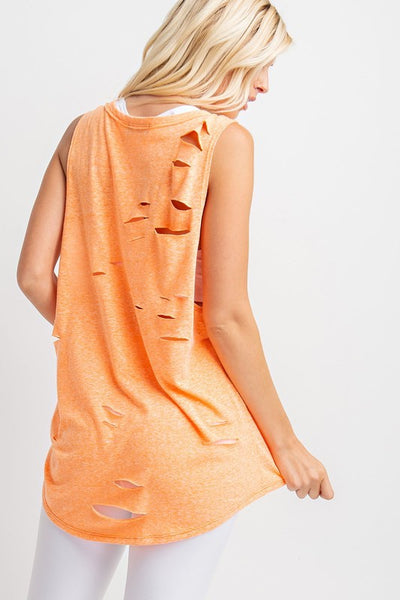 Neon Orange Distressed Knit Top