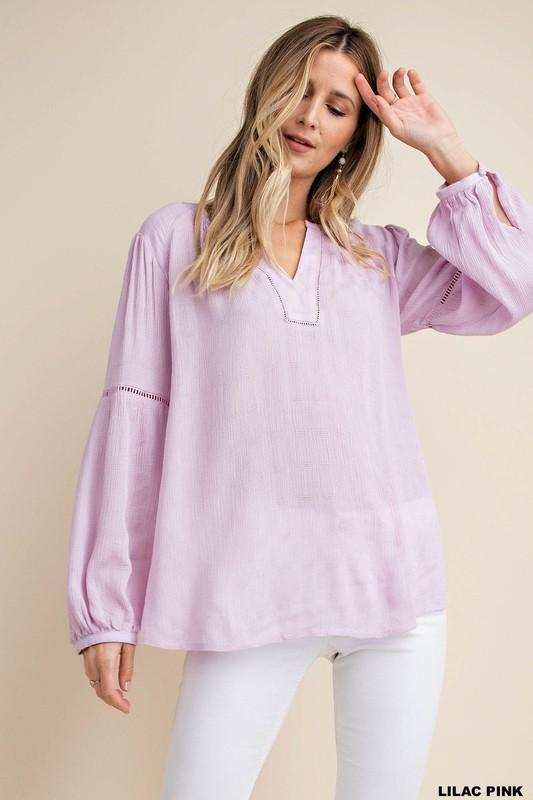 Lilac Pink Lace Trim Inserted Textured Fabric Blouse